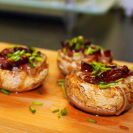 champignons with cheese and bacon