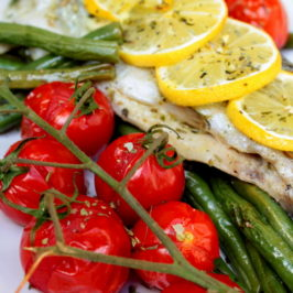 Trout with green beans and cherry tomatoes
