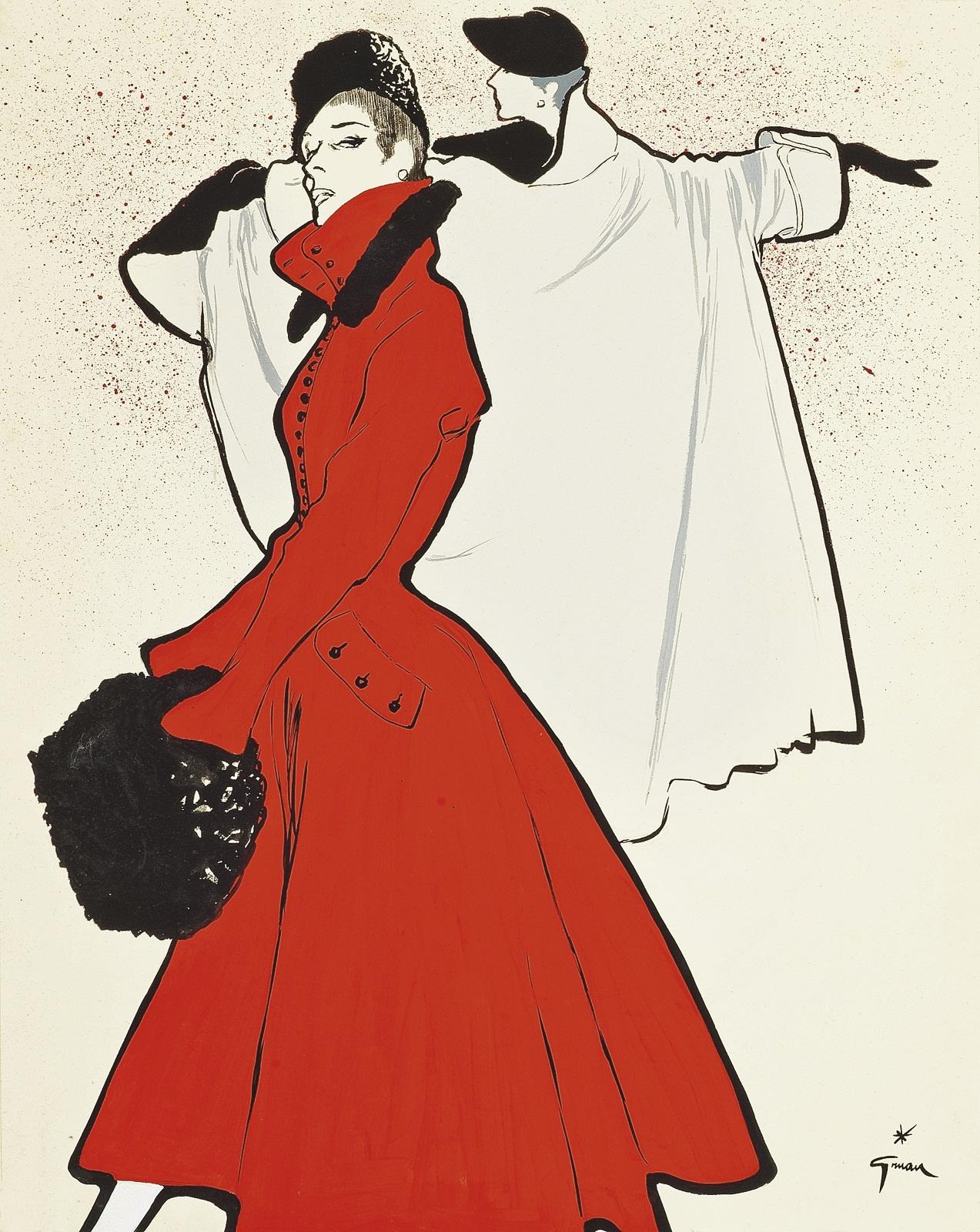 Rene-Gruau-the-red-coat-1950