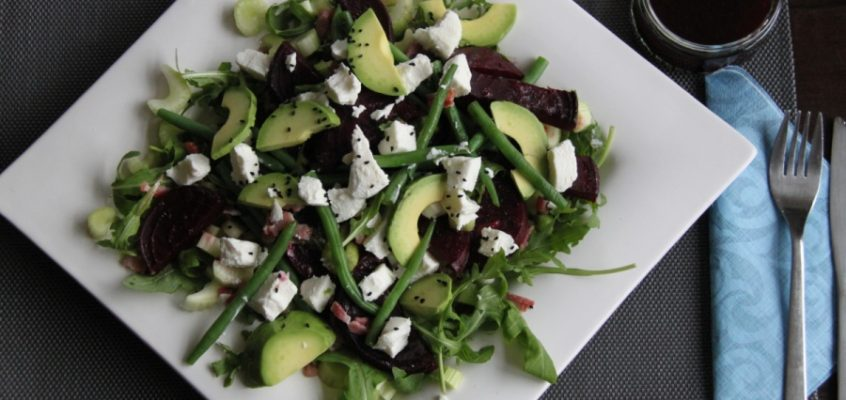 Roasted beets, green beans, bacon and goat cheese salad