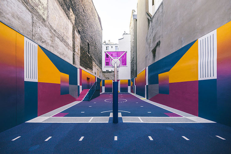 A Technicolor Basketball Court Pops Up in Paris